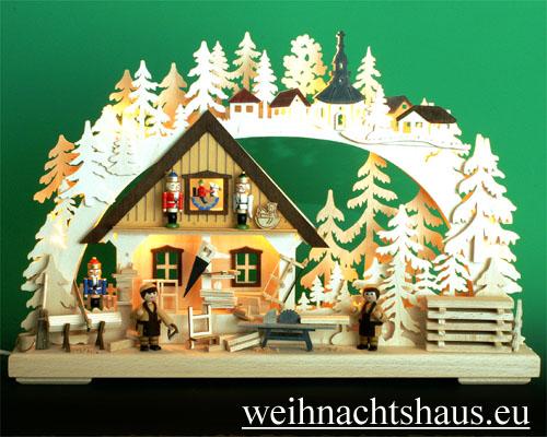 Seiffen Weihnachtshaus - Doppelschwibbogen Erzgebirge 10 Kerzen Nußknackerwerkstatt - Bild 1