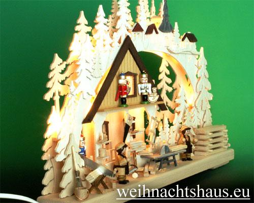 Seiffen Weihnachtshaus - Doppelschwibbogen Erzgebirge 10 Kerzen Nußknackerwerkstatt - Bild 2