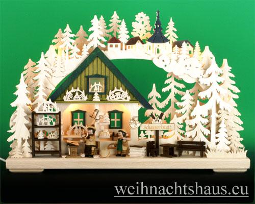 Seiffen Weihnachtshaus - Doppelschwibbogen 10 Kerzen Schauwerkstatt (doppelt) 43 cm - Bild 1