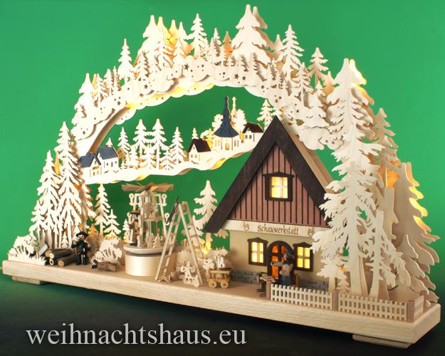 Seiffen Weihnachtshaus - Doppelschwibbogen-Erzgebirge 20 Kerzen Schauwerkstatt 70 cm - Bild 2