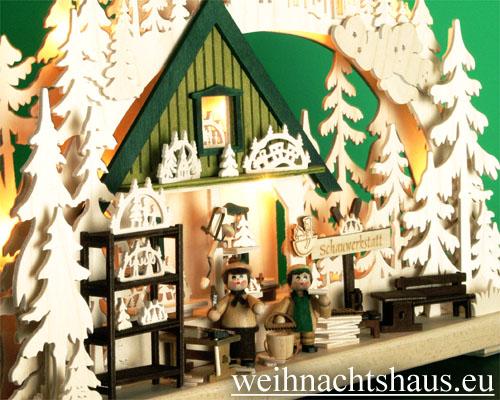 Seiffen Weihnachtshaus - Doppelschwibbogen 10 Kerzen Schauwerkstatt (doppelt) 43 cm - Bild 2
