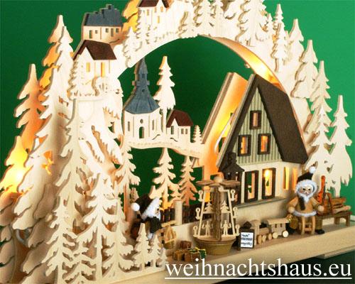 Seiffen Weihnachtshaus - Doppelbogen 10 Kerzen Weihnachtswünsche 43 cm - Bild 2