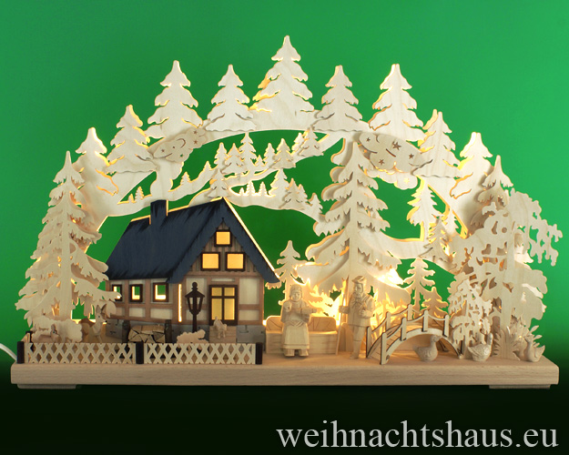 Seiffen Weihnachtshaus - Doppelschwibbogen-Erzgebirge 17 Kerzen Am Waldbach 60 cm - Bild 1