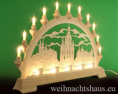 Seiffen Weihnachtshaus - Schwibbogen 16 Kerzen Frauenkirche 63 cm - Bild 2