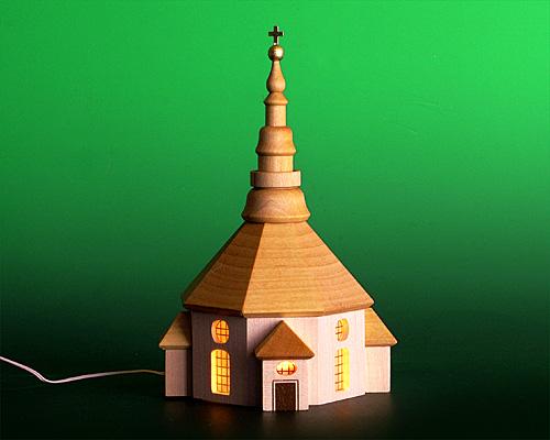 Seiffen Weihnachtshaus - Kirche zum Beleuchten 15 cm hell - Bild 1