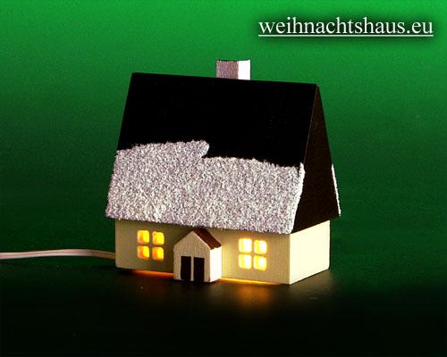Seiffen Weihnachtshaus - Haus zum Beleuchten 5,5 cm Schnee - Bild 1