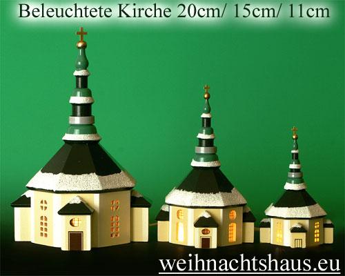 Seiffen Weihnachtshaus - Kirche zum Beleuchten 11 cm Schnee - Bild 3