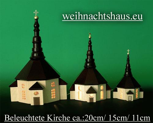 Seiffen Weihnachtshaus - Kirche zum Beleuchten 11 cm hell - Bild 3