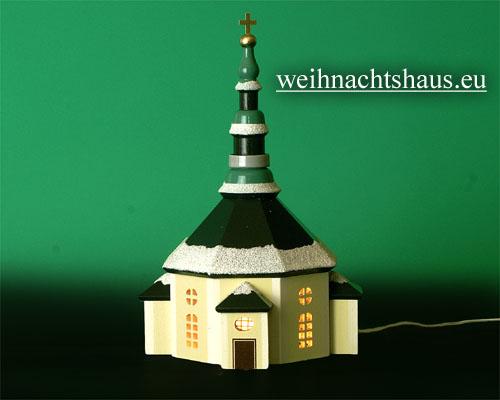 Seiffen Weihnachtshaus - Kirche zum Beleuchten 11 cm Schnee - Bild 1