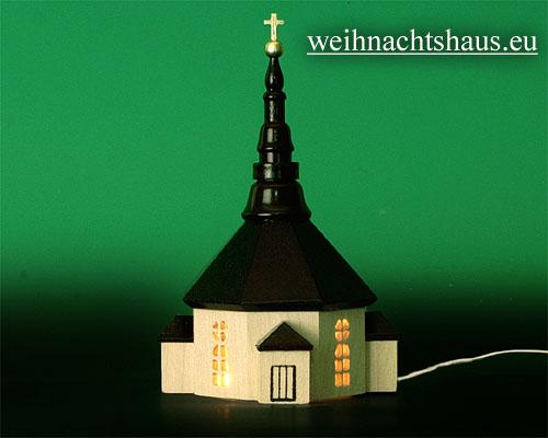 Seiffen Weihnachtshaus - Kirche zum Beleuchten 11 cm hell - Bild 1