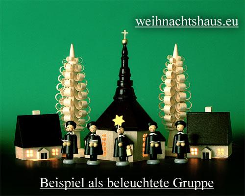 Seiffen Weihnachtshaus - Kirche zum Beleuchten 11 cm hell - Bild 2