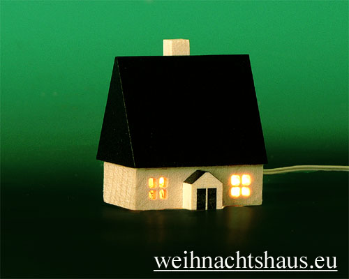 Seiffen Weihnachtshaus - Haus zum Beleuchten 4,5 cm dunkel - Bild 1