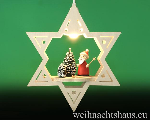 Seiffen Weihnachtshaus - Fensterbild elektrisch beleuchtet Weihnachtsmann im Winterwald - Bild 1