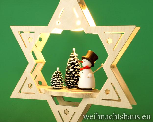 Seiffen Weihnachtshaus - Fensterbild elektrisch beleuchtet Schneemann im Winterwald - Bild 2