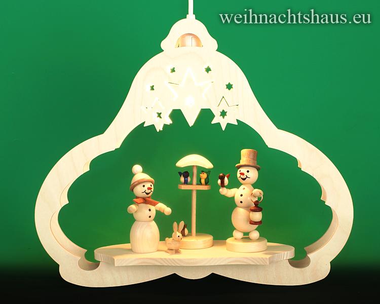 Seiffen Weihnachtshaus - Fensterbild   elektrisch beleuchtet Schneemann Vogelfütterung - Bild 1