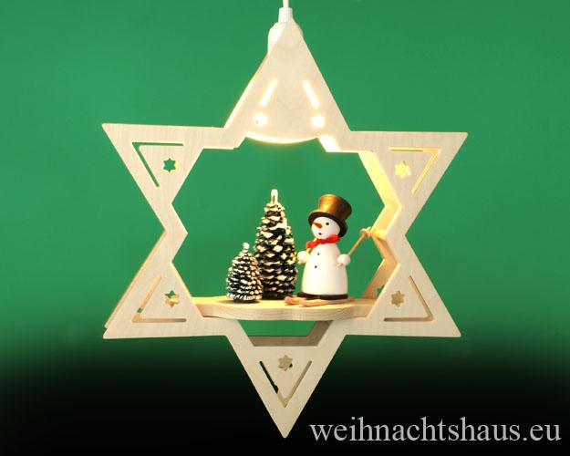 Seiffen Weihnachtshaus - Fensterbild elektrisch beleuchtet Schneemann im Winterwald - Bild 1