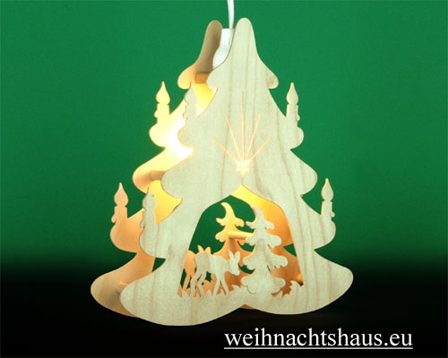 Seiffen Weihnachtshaus - Fensterbild bel. Tanne mit Reh - Bild 2