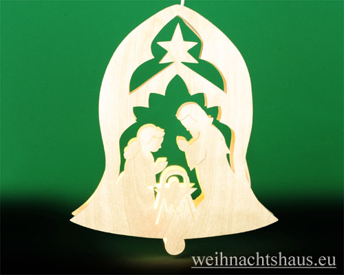 Seiffen Weihnachtshaus - Fensterbild bel. Glocke mit Krippe - Bild 1