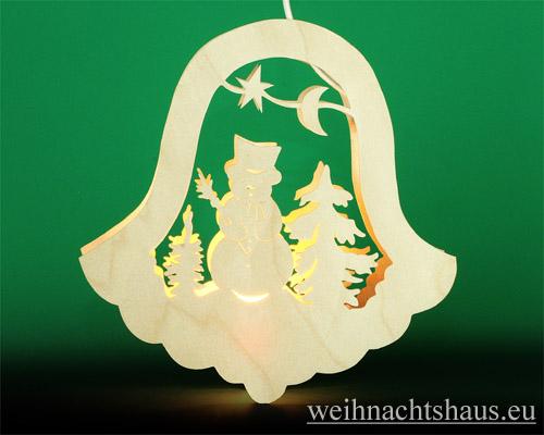 Seiffen Weihnachtshaus - Fensterbild bel. Glocke Schneemann - Bild 1