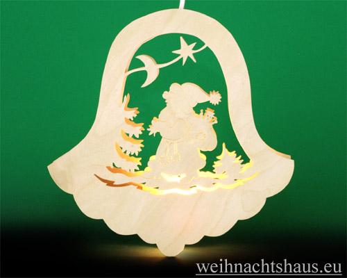 Seiffen Weihnachtshaus - Fensterbild bel. Glocke Weihnachtsmann - Bild 1