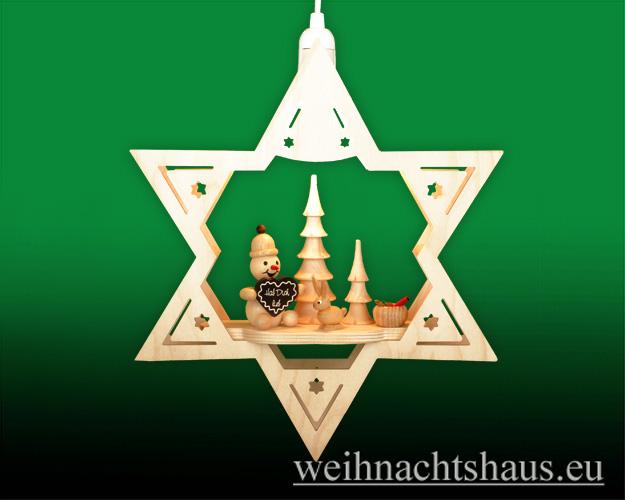 Seiffen Weihnachtshaus - Fensterbild  beleuchtet Stern Mein Lieblingsschneemann - Bild 1
