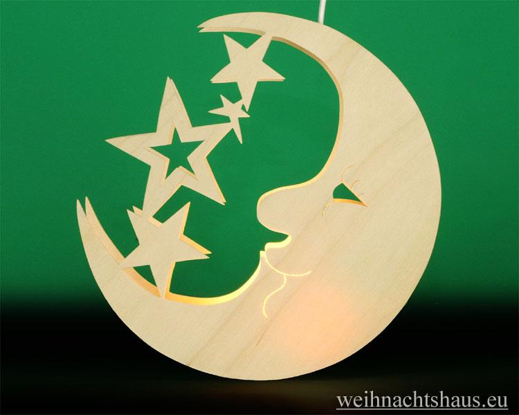 Seiffen Weihnachtshaus - Fensterbild bel. Mond mit Sterne - Bild 1