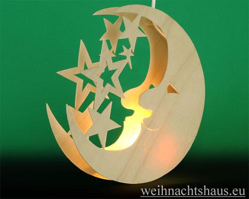 Seiffen Weihnachtshaus - Fensterbild bel. Mond mit Sterne - Bild 2