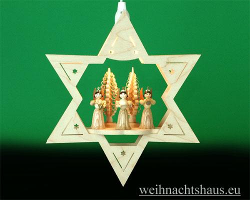 Seiffen Weihnachtshaus - Fensterbild bel.  Stern 3 Engel natur - Bild 1