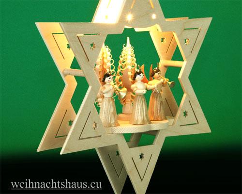 Seiffen Weihnachtshaus - Fensterbild bel.  Stern 3 Engel natur - Bild 2
