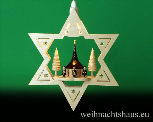 Seiffen Weihnachtshaus - Fensterbild bel.  Stern Seiffener Kirche - Bild 1