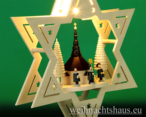 Seiffen Weihnachtshaus - Fensterbild bel.  Stern Seiffener Kirche - Bild 2
