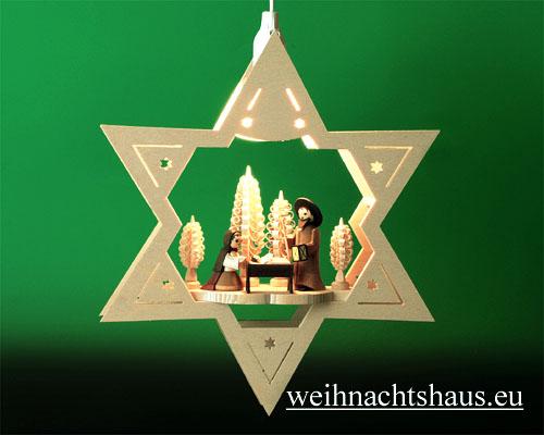 Seiffen Weihnachtshaus - Fensterbild bel.  Stern Krippe natur - Bild 1