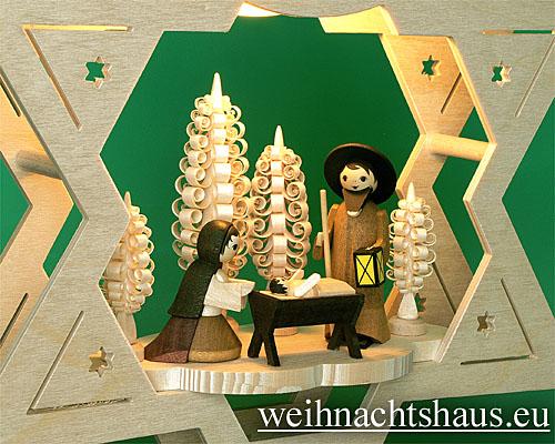 Seiffen Weihnachtshaus - Fensterbild bel.  Stern Krippe natur - Bild 2