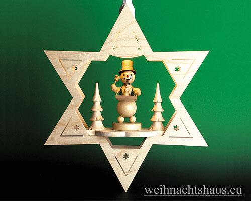 Seiffen Weihnachtshaus - Fensterbild bel.  Stern Schneemann - Bild 1