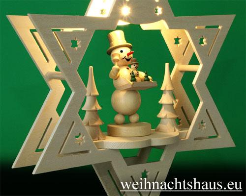 Seiffen Weihnachtshaus - Fensterbild bel.  Stern Schneemann - Bild 2