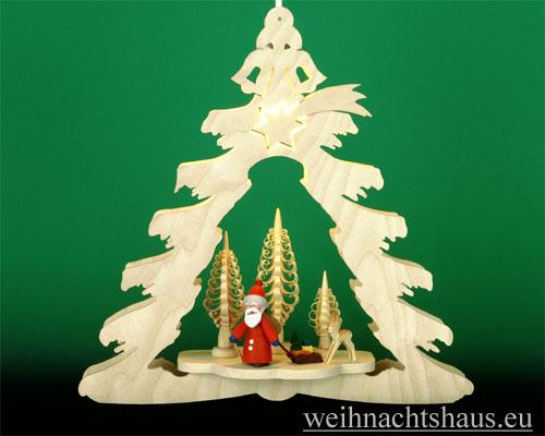 Seiffen Weihnachtshaus - Fensterbild bel.  Tanne mit Weihnachtsmann - Bild 1