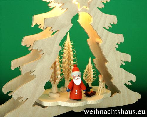 Seiffen Weihnachtshaus - Fensterbild bel.  Tanne mit Weihnachtsmann - Bild 2