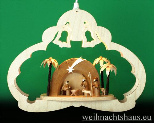 Seiffen Weihnachtshaus - Fensterbild bel.  Krippe in der Grotte - Bild 1