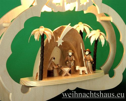 Seiffen Weihnachtshaus - Fensterbild bel.  Krippe in der Grotte - Bild 2