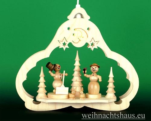 Seiffen Weihnachtshaus - Fensterbild bel.  Schneemann mit Schneefrau - Bild 1