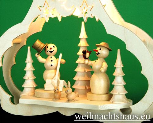 Seiffen Weihnachtshaus - Fensterbild bel.  Schneemann mit Schneefrau - Bild 2