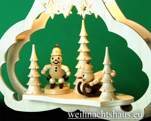 Seiffen Weihnachtshaus - Fensterbild bel.  Schneemänner beim Wintersport - Bild 2