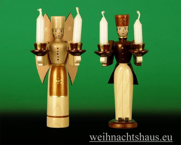 Seiffen Weihnachtshaus - <!--01-->Engel und Bergmann Erzgebirge 14cm natur für Kerzen - Bild 1