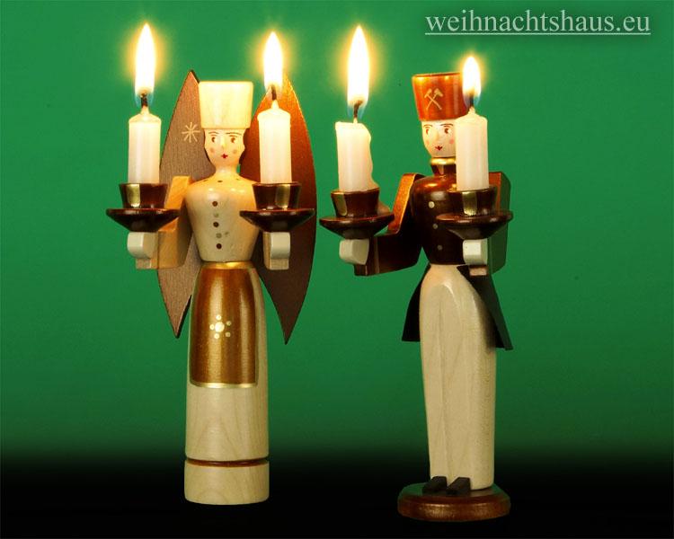 Seiffen Weihnachtshaus - <!--01-->Engel und Bergmann Erzgebirge 14cm natur für Kerzen - Bild 2