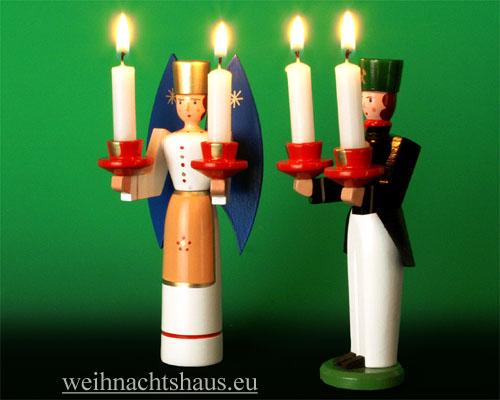 Seiffen Weihnachtshaus - <!--01-->Engel und Bergmann Erzgebirge 14cm farbig für Kerzen - Bild 2