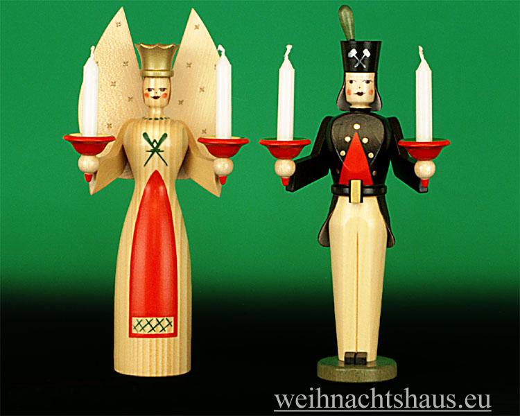 Seiffen Weihnachtshaus - <!--01-->Engel und Bergmann Erzgebirge 22cm für Kerzen - Bild 1