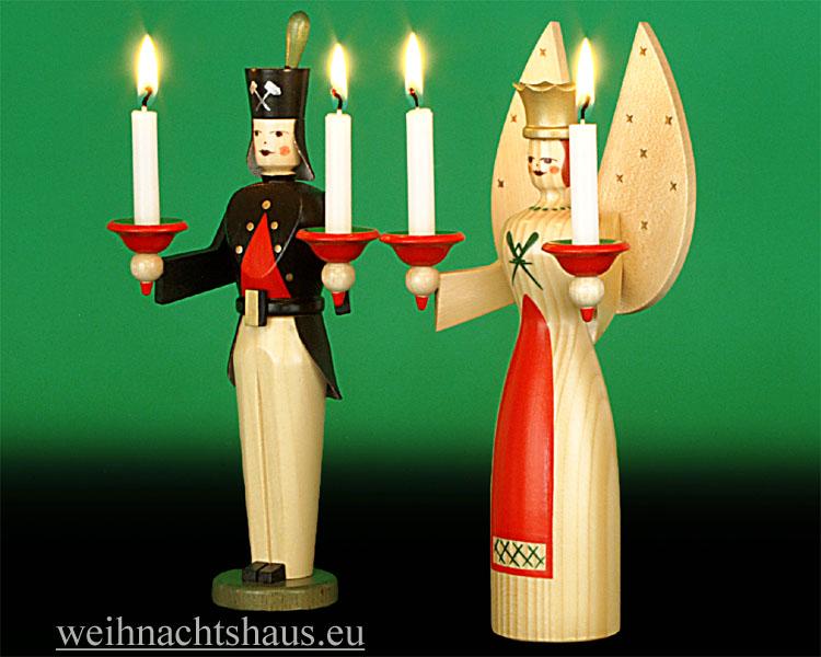 Seiffen Weihnachtshaus - <!--01-->Engel und Bergmann Erzgebirge 22cm für Kerzen - Bild 2