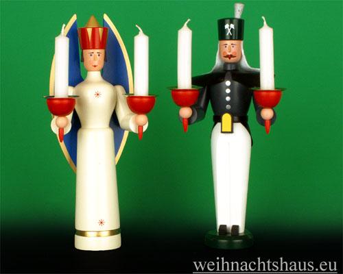 Seiffen Weihnachtshaus - <!--01-->Engel und Bergmann Erzgebirge 25cm für Kerzen - Bild 1