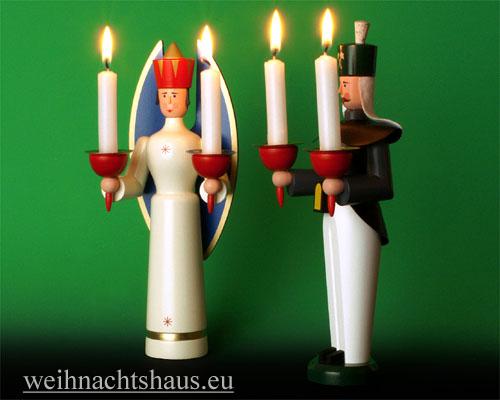 Seiffen Weihnachtshaus - <!--01-->Engel und Bergmann Erzgebirge 25cm für Kerzen - Bild 2
