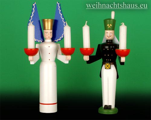 Seiffen Weihnachtshaus - <!--01-->Engel und Bergmann Erzgebirge 24cm für Kerzen - Bild 1